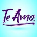 Te Amo, te amo texto español, diseño de letras del vector libre illustration