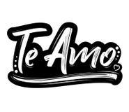 Te Amo, te amo texto español, diseño de letras del vector stock de ilustración