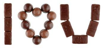 Te amo texto hecho de chocolates Imagen de archivo