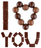 Te amo texto hecho de chocolates Fotografía de archivo