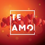 Te Amo Vector Background. Decorative vector background with realistic 3D looking hearts created with gradient mesh, Te Amo I love You in Spanish typographic Stock Images