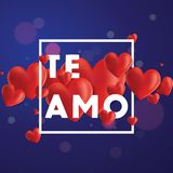 Te Amo Vector Background. Decorative vector background with realistic 3D looking hearts created with gradient mesh, Te Amo I love You in Spanish typographic Royalty Free Stock Images