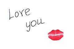 Te amo y beso Imágenes de archivo libres de regalías