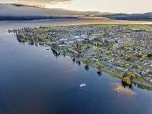 Te Anau lake and town. The bird& x27;s eye view of Te Anau lake and town in Autumn at the southisland, New Zealand Stock Image