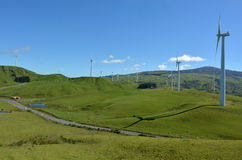 Te Apiti风力场在北帕莫斯顿,新西兰 库存图片
