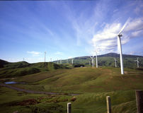Te Apiti Wind Farm, New Zealand. Wind turbines and sheep dot the landscape in the Manawatu region, outside of Palmerston North, New Zealand Stock Images