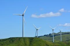 Te Apiti Wind Farm in Palmerston North, New Zealand. PALMERSTON NORTH, NZL - DEC 03 2014:Wind turbines in Te Apiti Wind Farm.The $100 million wind farm consists Stock Image