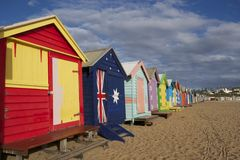 Te beach boxes. The iconic beach boxes of Brighton Beach, Melbourne Australia. They make for a colourful and fun landscape Royalty Free Stock Photo