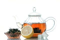 Te, citron och socker arkivbilder
