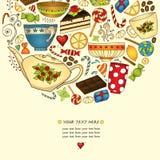 Te, coffe och sötsaker klottrar den patern inbjudan för mallen Royaltyfri Fotografi