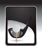 Te de la pelota de golf con el contexto checkered del negro del club Foto de archivo