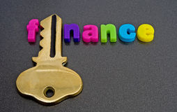 Te financieren sleutel: embleem? Stock Fotografie