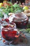Te från örter med ingefäran, citron i en lantlig stil royaltyfria bilder