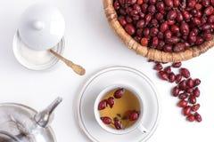 Te från nypon på en vit bakgrund Royaltyfria Bilder