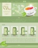 Te för vektorwebsitemallen shoppar Arkivbild