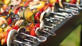 Te gaar gekookt en gebrand shashliks bij de hete barbecuegrill stock footage