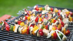 Te gaar gekookt en gebrand shashliks bij de hete barbecuegrill stock videobeelden