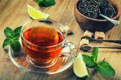Te i en glass kopp, mintkaramellsidor, torkade te, skivad limefrukt, rottingsocker royaltyfri bild