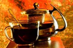 Te i en kopp och en tekanna på bakgrunden av regnbågeljus Te är en populär sund drink erhållande, genom att brygga och att inge a royaltyfri foto
