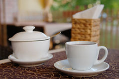 Te i kafé Arkivbild