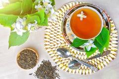 Te kopp te, olika sorter av te, te med jasmin Arkivbild