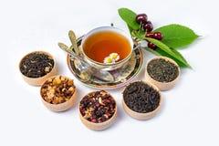 Te kopp te, olika sorter av te, te på tabellen Arkivfoton