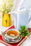 Te kopp te, olika sorter av te, te på tabellen Royaltyfri Fotografi