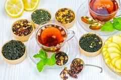 Te kopp te, olika sorter av te, te på tabellen Arkivbilder