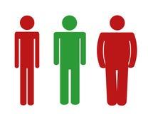 Te lichte normale het pictogram rode en groene kleuren van de gewichts te zware mens stock illustratie