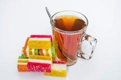 Te mat, drink, starksprit, bakgrund, exponeringsglas, drink Royaltyfri Bild