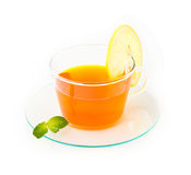 Te med citronen och mintkaramellen Royaltyfri Foto