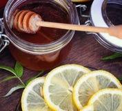 Te med citronen och mintkaramellen i natur En kopp av varmt mintkaramellte med le Arkivbilder