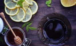Te med citronen och mintkaramellen i natur En kopp av varmt mintkaramellte med le Fotografering för Bildbyråer