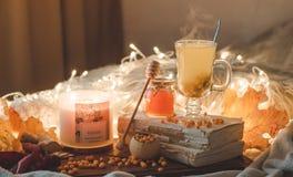 Te med denbuckthorn bär och ingefäran på sidor för gamla böcker, honung-, stearinljus- och höst Atmosfären av komfort hemma cozy arkivfoton