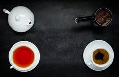 Te och kaffe med kopieringsutrymme Arkivbild