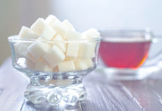 Te och socker Arkivfoto