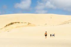Te Paki沙丘,极大的白色沙丘一喜爱的旅游attr 免版税图库摄影