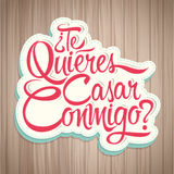 Te Quieres Casar Conmigo - Will you marry me spanish text Stock Image