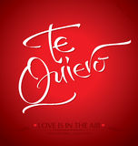 TE QUIERO hand lettering (vector) Stock Image
