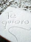 Te Quiero im Schnee Stockbild