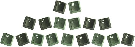 Te Quiero Muchisimo keys. Photo of keyboard buttons spelling out the wod, Te Quiero Muchisimo Stock Image