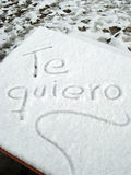 Te Quiero In Snow. I Love You written in Spanish in snow Stock Image