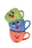 Te rånar och kaffekoppar Arkivfoton