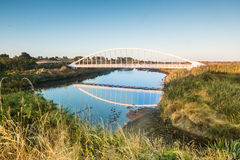 Te Rewa Rewa Bridge Reflection. Te Rewa Rewa Bridge with some New Zealand large flax in front of it Stock Photography