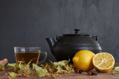 Te Sammansättning av citronte och annat tillförsel Arkivfoton