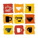 Te shoppar logouppsättningillustrationen Royaltyfria Foton