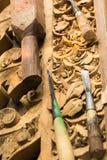 Te snijden hulpmiddelen en hout Stock Afbeelding