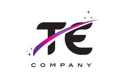 TE T E Black Letter Logo Design with Purple Magenta Swoosh. And Stars Royalty Free Stock Photo