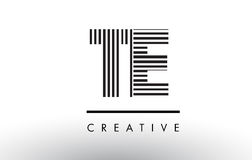 TE T E Black and White Lines Letter Logo Design. TE T E Black and White Letter Logo Design with Vertical and Horizontal Lines Stock Image