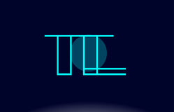 Te t e blue line circle alphabet letter logo icon template vecto Stock Photography